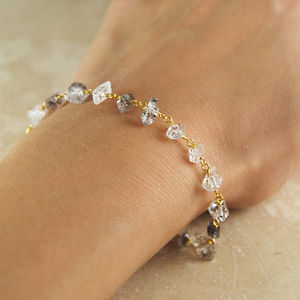 Gold And Silver Herkimer Diamond Bracelet Gift