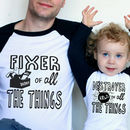 Personalised Fixer/ Destroyer Daddy And Me T Shirt Set