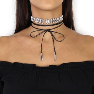 Rhinestone Choker With Leather Cord - necklaces & pendants