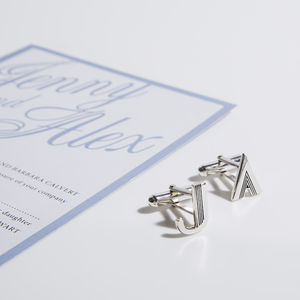 Art Deco Initial Cufflinks - valentine's gifts for him