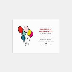 Balloons Personalised Birthday Party Invitations - adults party invitations