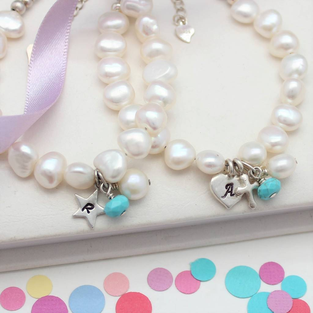 Pearl And Birthstone Christening Bracelet