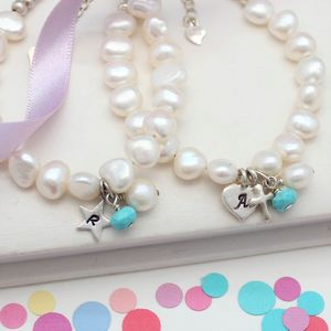 Pearl And Birthstone Christening Bracelet - christening gifts