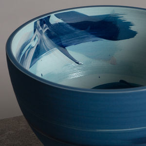 Handmade Blue Turquoise Ceramic Bowl - kitchen