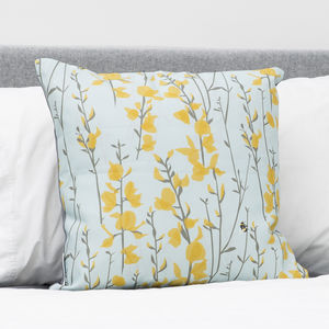 Blue And Yellow Bee Cushion - bedroom