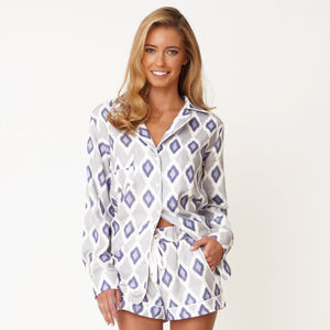 Ikat Print Cotton Pyjama Shirt - gifts for her