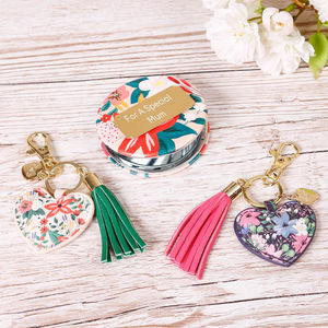 Personalised Botanical Compact Mirror And Keyring Gift - bag charms