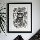 Hand Drawn Monochrome Wise Owl Print