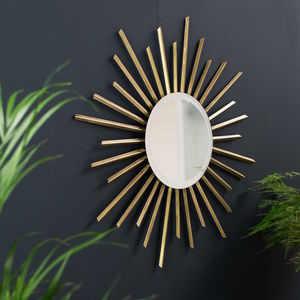 Gold Deco Sunbeam Mirror - mirrors