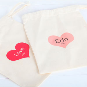 Personalised Loveheart Cotton Drawstring Gift Bag