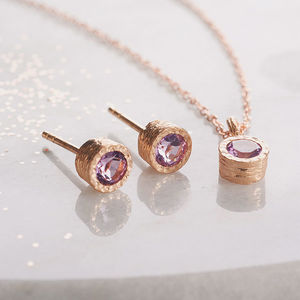Silver Amethyst Rose Gold Gemstone Jewellery Set - jewellery sets