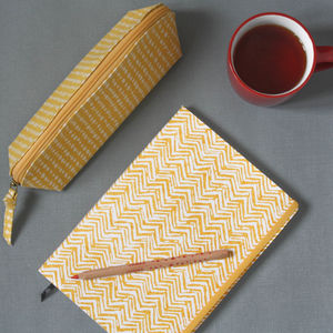 Hand Drawn Spot And Chevron Notebook Pencil Case Set
