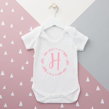 Personalised Initial Wreath Baby Grow