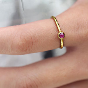 Raw Stone Stacking Ring: Ruby - 40th anniversary: ruby