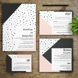 Blush Monochrome Wedding Invitations - save the date cards