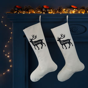 Personalised Reindeer Mr And Mrs Christmas Stockings