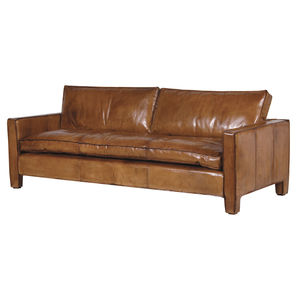 Italian Leather Three Seater Sofa - sofas