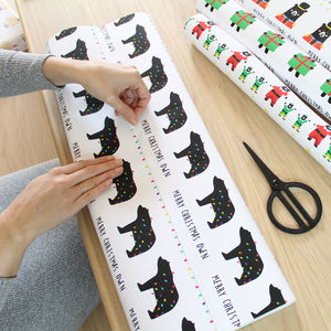 Personalised Bear Christmas Lights Wrapping Paper