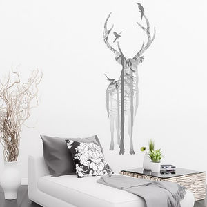 Stag In The Woods Winter Wall Sticker