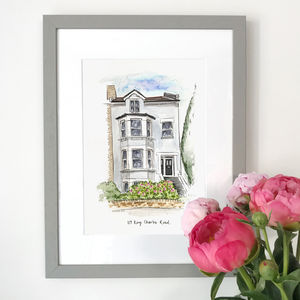 Personalised House Portrait Hand Illustrated - drawings & illustrations