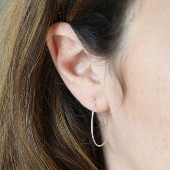 Sterling Silver Geometric Half Hoop Earrings