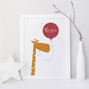 Personalised Fun Giraffe Name Print Gift - for over 5's