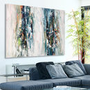 Large Abstract Landscape Painting Blue Decor