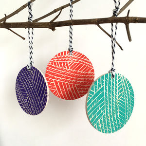 Ball Of Knitting Wool Wooden Christmas Tree Ornaments
