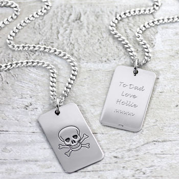 Silver Skull And Crossbones Dog Tag Necklace