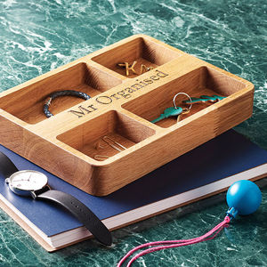 Personalised Oak Organiser Tray - view all gifts for him