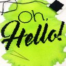 Oh hello green modern cross stitch black floss gold plated needles bright colours