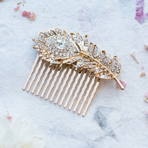 Milly Crystal Feather Comb