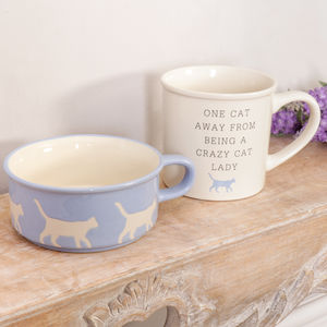 Crazy Cat Lady Mug And Feeding Bowl Gift Set
