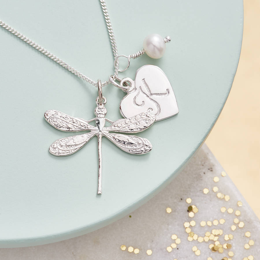 Dragonfly Necklace Personalised With Birthstones