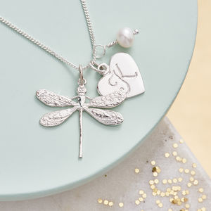 Dragonfly Necklace Personalised With Birthstones - more