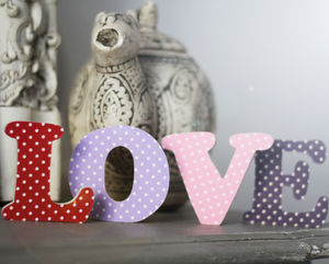 Polka Dot Fabric On Wood Letters