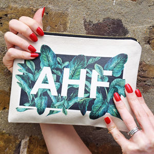 Personalised Tropical Leaf Initials Make Up Bag - our top new picks