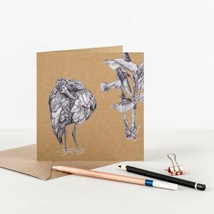 White Faced Ibis Recycled Greetings Card