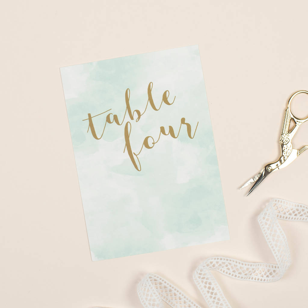 Mint Romance Table Number Pack