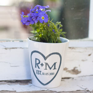Couple Plant Pot - personalised engagement gifts
