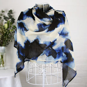 'Blurred Shadows' Large Luxury Scarf Wrap - scarves