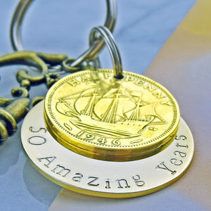Golden Anniversary Keyring - 50th anniversary: gold