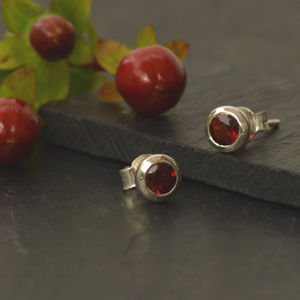 Garnet And Silver Stud Earrings - january birthstone