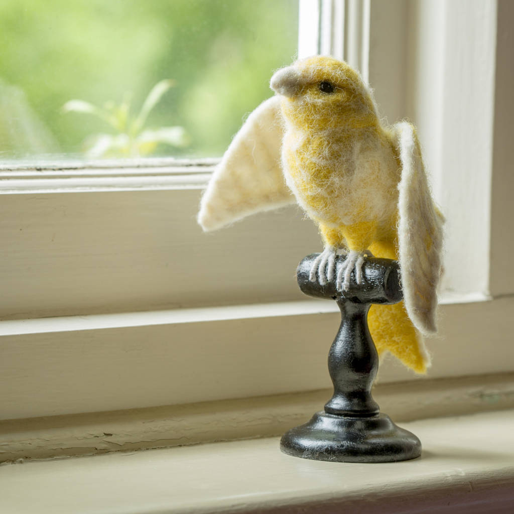 Felt Bird Taxidermy Yellow Norwich Canary