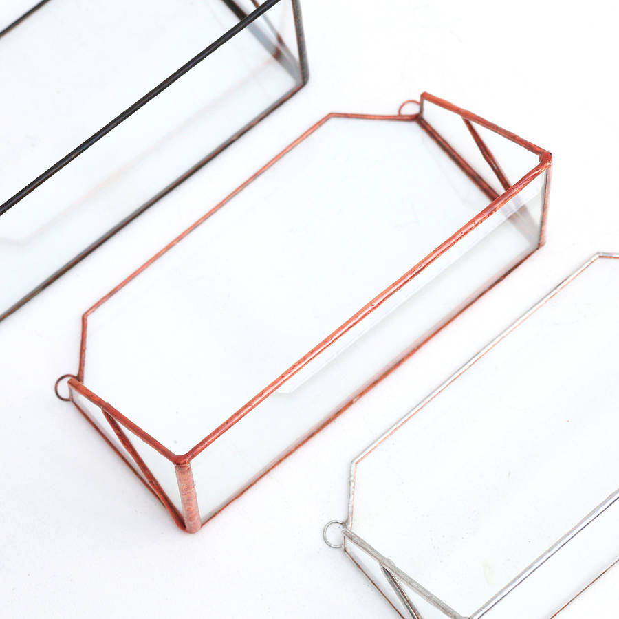 Geometric glass wall shelf by paly glass notonthehighstreet geometric glass wall shelf black black black copper silver amipublicfo Gallery