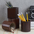 Personalised Leather Pen Pot