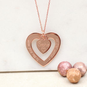 Personalised Rose Gold Double Heart Necklace