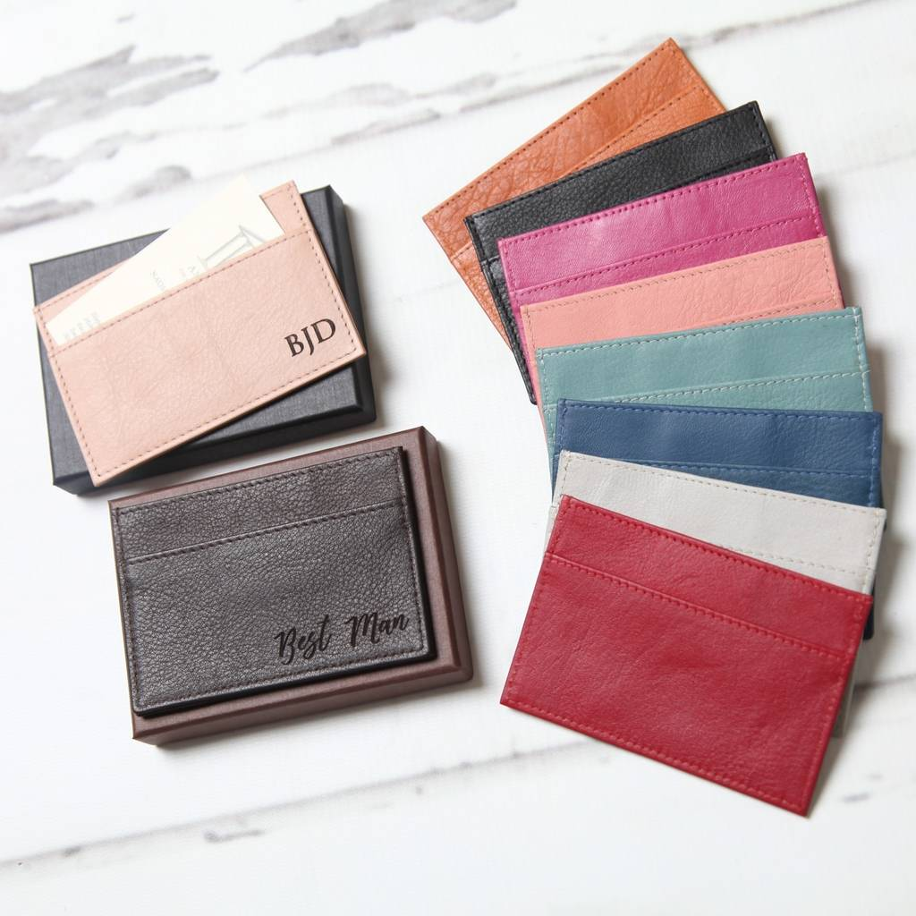 Personalised leather card holder by nv london calcutta personalised leather card holder reheart Choice Image