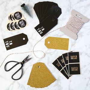 Black And Gold Typography Wrapping Pack - christmas stickers