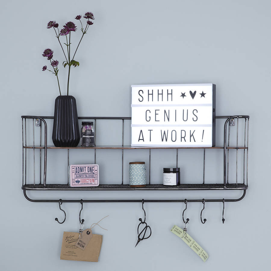 two shelf metal wall unit with hooks by primrose & plum ...